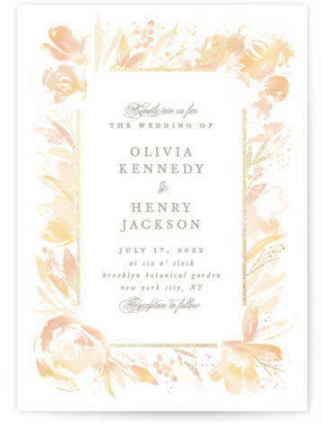 This is a portrait botanical, painterly, rustic, orange Wedding Invitations by Creo Study called Blooming border with Foil Pressed printing on Signature in Classic Flat Card format. An ethereal frame of watercolor florals and foiled accents make beautiful garden wedding ...