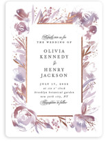 This is a purple foil stamped wedding invitation by Creo Study called Blooming border with foil-pressed printing on signature in standard.