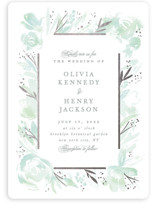 This is a green foil stamped wedding invitation by Creo Study called Blooming border with foil-pressed printing on signature in standard.