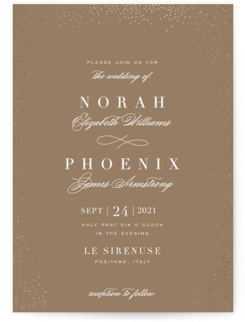This is a portrait modern, painterly, brown, gold Wedding Invitations by Design Lotus called Amazed with Foil Pressed printing on Signature in Classic Flat Card format. Classic & Formal & Elegant perfect for a sophisticated and timeless wedding