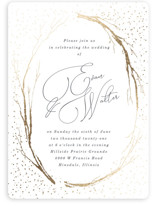 This is a gold foil stamped wedding invitation by Baumbirdy called whimsical twigs with foil-pressed printing on signature in standard.