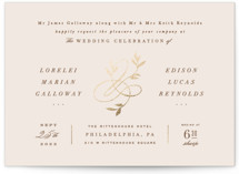 This is a pink foil stamped wedding invitation by Hooray Creative called Botanical Ampersand with foil-pressed printing on signature in standard.