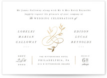This is a white foil stamped wedding invitation by Hooray Creative called Botanical Ampersand with foil-pressed printing on signature in standard.