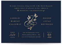 This is a blue foil stamped wedding invitation by Hooray Creative called Botanical Ampersand with foil-pressed printing on signature in standard.