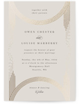 This is a beige foil stamped wedding invitation by Corinne Malesic called Sparkling Arches with foil-pressed printing on signature in standard.