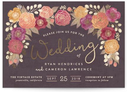 Autumn Florals Foil-Pressed Wedding Invitations