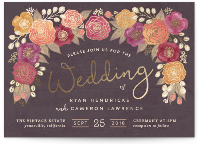 This is a landscape botanical, rustic, brown Wedding Invitations by Hooray Creative called Autumn Florals with Foil Pressed printing on Signature in Classic Flat Card format. A handdrawn floral illustration in a warm color palette – perfect for a Fall ...