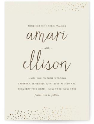 Dewdrop Foil-Pressed Wedding Invitations