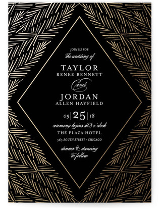 Feathered Foliage Foil-Pressed Wedding Invitations