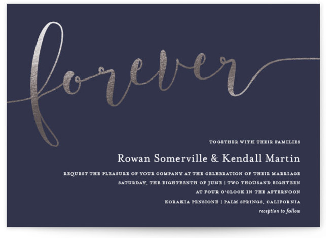 """This is a landscape bold and typographic, silver, blue Wedding Invitations by Paper Dahlia called Forever Love with Foil Pressed printing on Signature in Classic Flat Card format. Chic gold foil script """"forever"""" with classic typography."""
