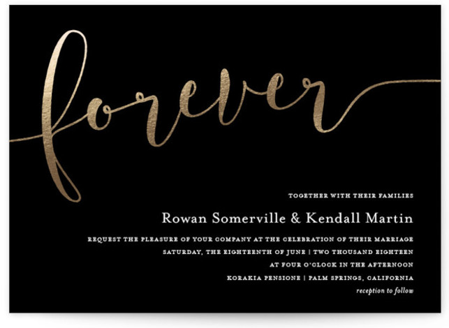 "This is a landscape bold and typographic, gold, black and white Wedding Invitations by Paper Dahlia called Forever Love with Foil Pressed printing on Signature in Classic Flat Card format. Chic gold foil script ""forever"" with classic typography."