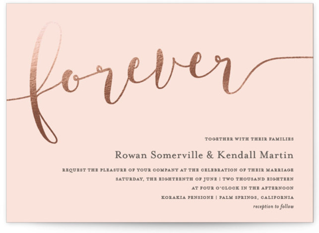 "This is a landscape bold and typographic, rosegold, pink, grey Wedding Invitations by Paper Dahlia called Forever Love with Foil Pressed printing on Signature in Classic Flat Card format. Chic gold foil script ""forever"" with classic typography."