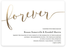 This is a gold foil stamped wedding invitation by Paper Dahlia called Forever Love with foil-pressed printing on signature in standard.