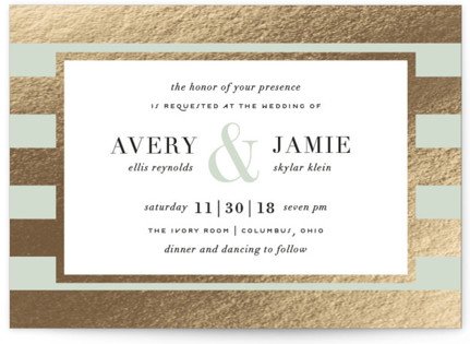 photo of Romantic Stripes Foil Pressed Wedding Invitations