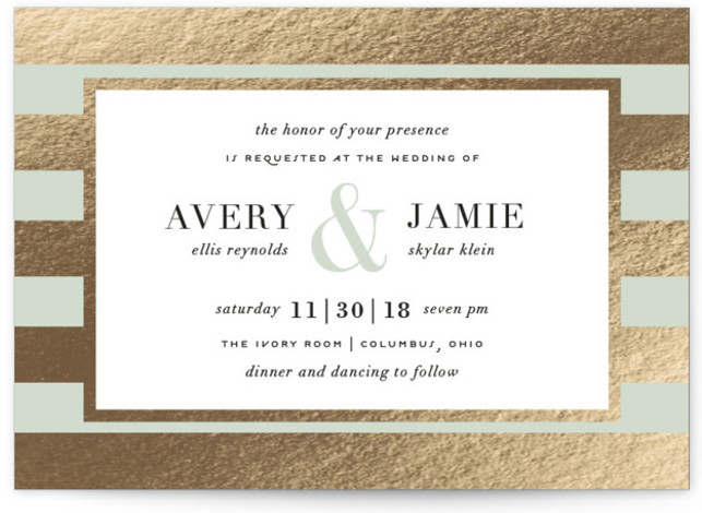 This is a landscape bold and typographic, preppy, green Wedding Invitations by Cheer Up Press called Romantic Stripes with Foil Pressed printing on Signature in Classic Flat Card format. A beautiful sage green pairs with real gold foil stripes to ...