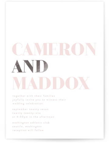 This is a portrait bold and typographic, pink, silver Wedding Invitations by Phrosne Ras called Bold with Foil Pressed printing on Signature in Classic Flat Card format. Bold text minimalistic and unisex