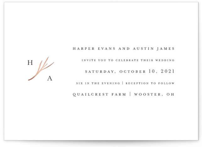 This is a landscape classic and formal, simple and minimalist, black, rosegold Wedding Invitations by Robin Ott called antler with Foil Pressed printing on Signature in Classic Flat Card format. Clean typography and a petite monogram full of rustic elegance. ...
