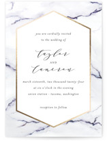 This is a gold foil stamped wedding invitation by Itsy Belle Studio called Marbled with foil-pressed printing on signature in standard.