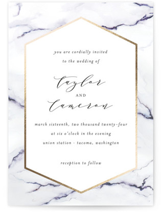 Marbled Foil-Pressed Wedding Invitations
