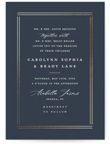 This is a blue foil stamped wedding invitation by Stacey Meacham called The Biltmore with foil-pressed printing on signature in standard.