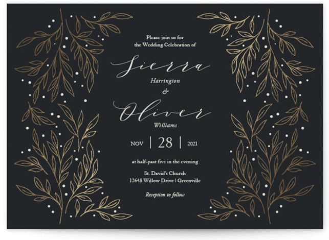 This is a black foil stamped wedding invitation by Lorent and Leif called Classic Elegance with foil-pressed printing on signature in standard.