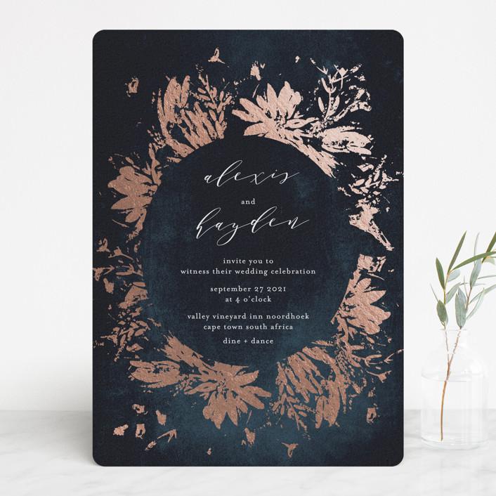 """Pressed Flowers"" - Modern Foil-pressed Wedding Invitations in Navy by Phrosne Ras."