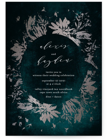 This is a portrait botanical, modern, green, silver Wedding Invitations by Phrosne Ras called Pressed Flowers with Foil Pressed printing on Signature in Classic Flat Card format. An empressive original floral frame in rose gold foil and a striking dark ...