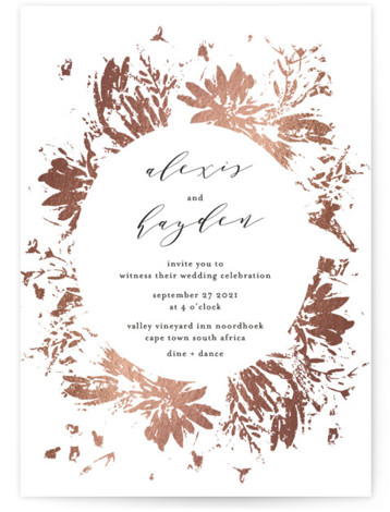 This is a portrait botanical, modern, rosegold, white Wedding Invitations by Phrosne Ras called Pressed Flowers with Foil Pressed printing on Signature in Classic Flat Card format. An empressive original floral frame in rose gold foil and a striking dark ...