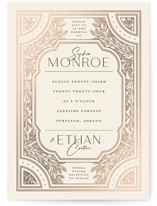 This is a beige foil stamped wedding invitation by GeekInk Design called Heirloom Branches with foil-pressed printing on signature in standard.