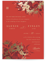 This is a red foil stamped wedding invitation by Shannon Chen called Happiness with foil-pressed printing on signature in standard.
