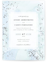 This is a blue foil stamped wedding invitation by Creo Study called Champagne with foil-pressed printing on signature in standard.