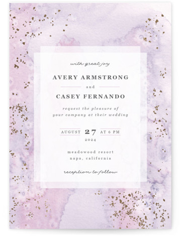 This is a portrait modern, purple, gold Wedding Invitations by Creo Study called Champagne with Foil Pressed printing on Signature in Classic Flat Card format. This ethereal wedding invite features a dainty looking watercolor background with tiny gold accents and ...
