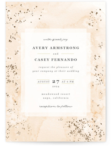 This is a portrait modern, yellow Wedding Invitations by Creo Study called Champagne with Foil Pressed printing on Signature in Classic Flat Card format. This ethereal wedding invite features a dainty looking watercolor background with tiny gold accents and a ...