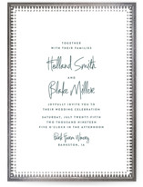 This is a blue foil stamped wedding invitation by Carolyn Nicks called trinkets with foil-pressed printing on signature in standard.