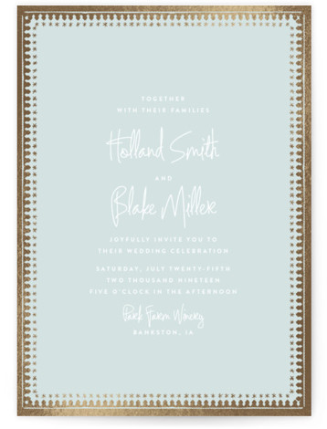This is a portrait simple, vintage, gold, green Wedding Invitations by Carolyn Nicks called trinkets with Foil Pressed printing on Signature in Classic Flat Card format. A modern wedding invitation inspired by antique trinket boxes