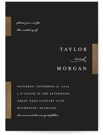 This is a portrait modern, simple, black Wedding Invitations by Genna Cowsert called Gallant with Foil Pressed printing on Signature in Classic Flat Card format. This chic wedding invitation features foil bars highlighting the typography.