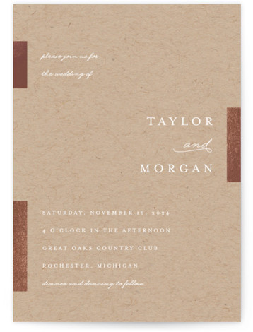 This is a portrait modern, simple, beige, brown Wedding Invitations by Genna Cowsert called Gallant with Foil Pressed printing on Signature in Classic Flat Card format. This chic wedding invitation features foil bars highlighting the typography.