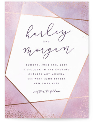 Amethyst Watercolor Foil-Pressed Wedding Invitations