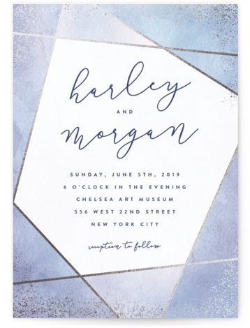 This is a portrait painterly, blue Wedding Invitations by Hooray Creative called Amethyst Watercolor with Foil Pressed printing on Signature in Classic Flat Card format. A geometric design with handpainted background, sparkling edges and modern type.