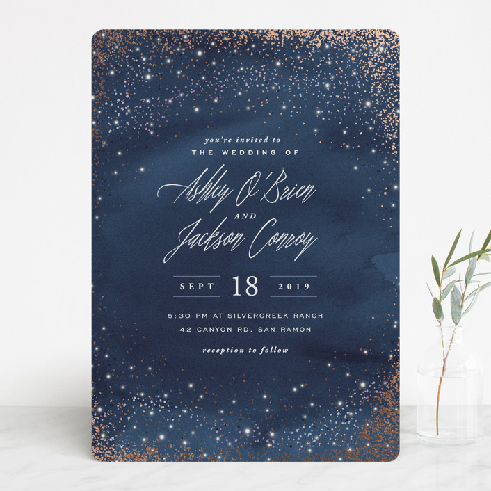 """Sparkling Night Sky"" - Rustic Foil-pressed Wedding Invitations in Midnight by Hooray Creative."