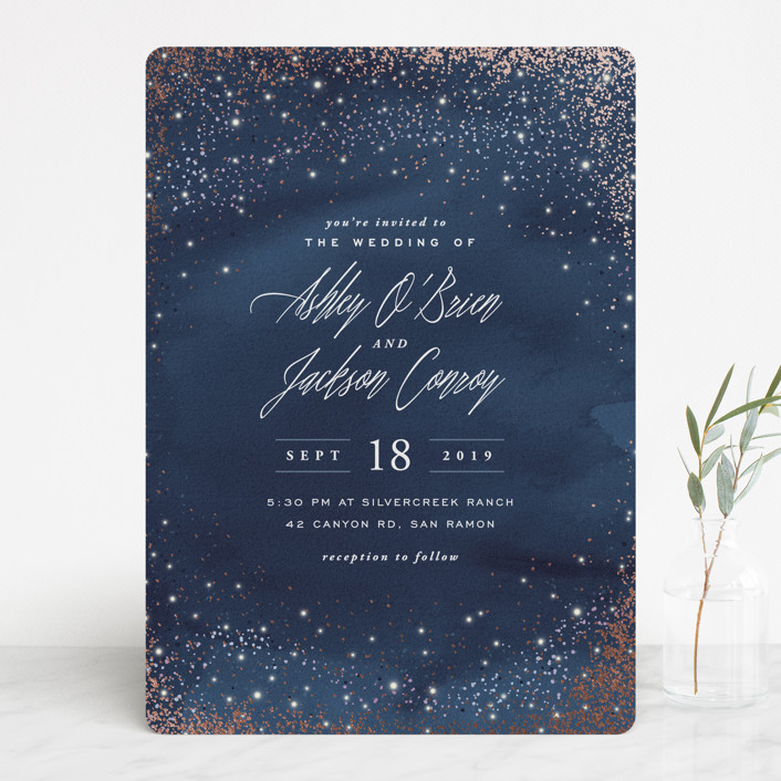 """""""Sparkling Night Sky"""" - Rustic Foil-pressed Wedding Invitations in Midnight by Hooray Creative."""