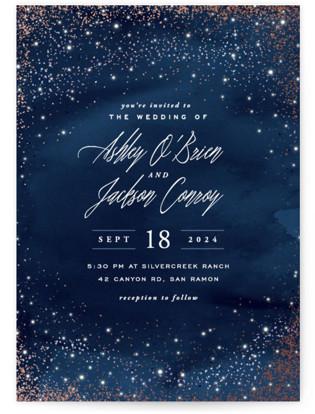 Sparkling Night Sky Foil-Pressed Wedding Invitations