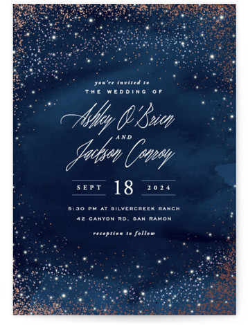 Sparkling Night Sky Foil-Pressed Wedding Invitations