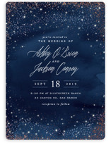 This is a blue foil stamped wedding invitation by Hooray Creative called Sparkling Night Sky with foil-pressed printing on signature in standard.