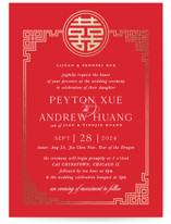 This is a red foil stamped wedding invitation by Melanie Kosuge called HAPPINESS x 2 with foil-pressed printing on signature in standard.