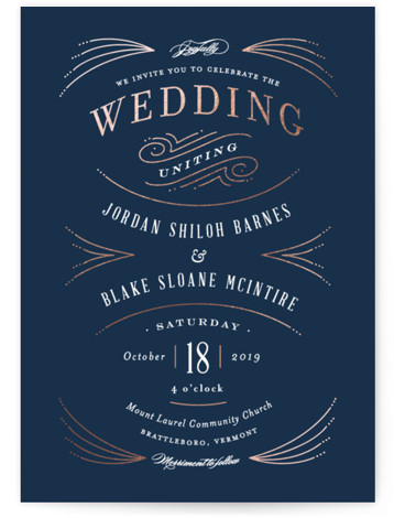 This is a portrait rustic, blue, white, rosegold Wedding Invitations by Jennifer Wick called Arched wedding with Foil Pressed printing on Signature in Classic Flat Card format. Vintage inspired typography paired with art deco foil accents.