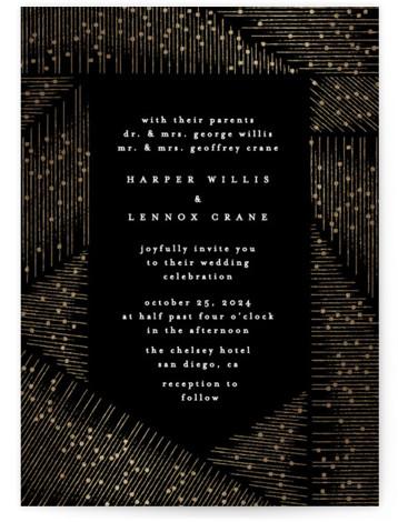 hand drawn frame Foil-Pressed Wedding Invitations