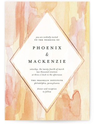 Sunset Watercolor Foil-Pressed Wedding Invitations