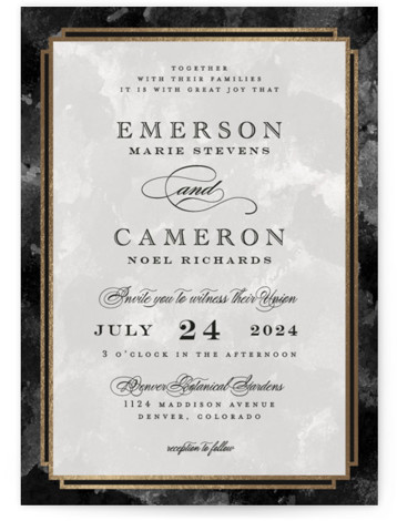 This is a portrait traditional, black, gold Wedding Invitations by Grace Kreinbrink called Classic Affair with Foil Pressed printing on Signature in Classic Flat Card format. Classic, striking wedding invitation with rich textured background and classic foil frame