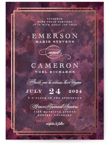 This is a portrait traditional, purple Wedding Invitations by Grace Kreinbrink called Classic Affair with Foil Pressed printing on Signature in Classic Flat Card format. Classic, striking wedding invitation with rich textured background and classic foil frame